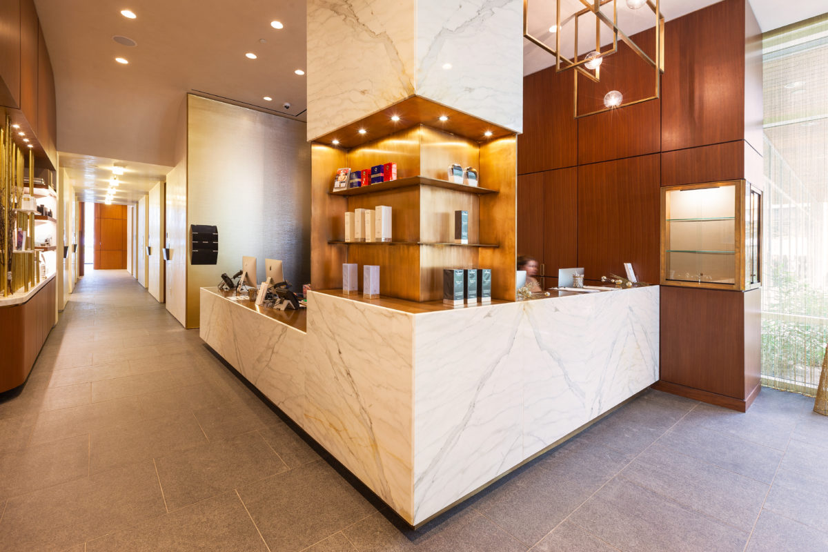 Image of the Westlake Dermatology Retail Desk with High End Shelving